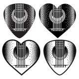 Vector set of stylish monochrome plektrum for guitar Royalty Free Stock Image