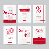 Vector set of stylish sale banners with red bow, ribbon and paper shopping bag. Stock Image