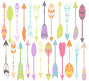 Vector Set of Stylized or Abstract Feather Arrows. And Feather Arrow Silhouettes stock illustration