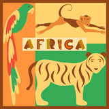 Vector set of stylized African animals in the jungle Royalty Free Stock Photography
