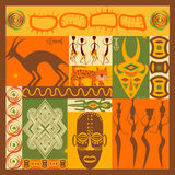 Vector set of stylized African elements and icons Stock Photos