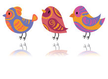 Vector set of stylized birds. A collection of cartoon birds. Illustration for children. Graphic art. Dove. Sparrow. Stock Photos
