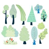 Vector cartoon trees vector illustration