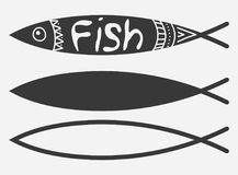 Vector set of stylized fish. A collection of marine fish icons. Logo. Tattoo. Vector set of stylized fish. A collection of marine fish icons. Logo Royalty Free Stock Image