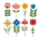 Vector set of stylized flowers. Collection of ornamental plants. Illustration for children. Art. Royalty Free Stock Photography