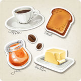 Vector set of stylized food icons. Coffee cup, coffee beans, toast, jam and butter are in the set Stock Photos