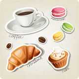 Vector set of stylized food icons. Coffee cup, macaroons, coffee beans, croissant and cake are in the set Stock Image