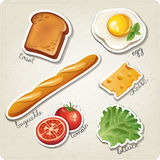 Vector set of stylized food icons. There are a toast, egg, baguette, cheese tomato and lettuce in the set Stock Images