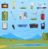 Vector set of golf icons. Vector set of stylized golf icons hobby car equipment and field. Collection cart player golf sport symbol flag hole game. Vector sign Stock Images