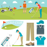 Vector set of stylized golf icons hobby equipment collection cart golfer player sport symbols Royalty Free Stock Images