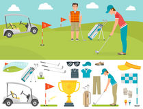 Vector set of stylized golf icons hobby equipment collection cart golfer player sport symbols Royalty Free Stock Photography