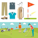 Vector set of stylized golf icons hobby equipment collection cart golfer player sport symbols Stock Photography