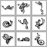 Vector Set of Stylized Ornamental Insects with Long Shadow Stock Image