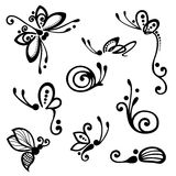Vector Set of Stylized Ornamental Insects Royalty Free Stock Image