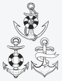 Vector set of stylized ship anchors. Linear Art. Collection of tattoos with an anchor. Royalty Free Stock Image