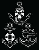 Vector set of stylized ship anchors. Linear Art. Collection of tattoos with an anchor. Stock Photo
