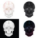 Vector set of stylized skulls. Human skull with ornaments. stock illustration