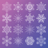 Vector set of stylized snowflakes. Collection of decorative  design elements Royalty Free Stock Images