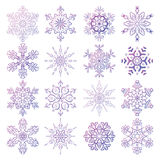 Vector set of stylized snowflakes. Collection of decorative  design elements Royalty Free Stock Photography