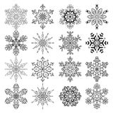 Vector set of stylized snowflakes. Collection of decorative isolated design elements Royalty Free Stock Photo