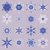 Vector set of stylized snowflakes. Collection of decorative isolated design elements Stock Photos
