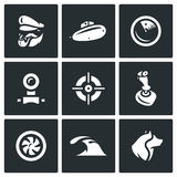 Vector Set of Submarine Icons.  Royalty Free Stock Image