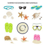 Vector set summer accessories and seashells. Icons glasses, diving mask, flip-flops, shells, starfish, hat on a white background Stock Image
