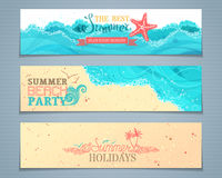 Vector set of summer banners. Royalty Free Stock Photos