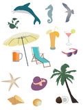 Vector set of summer and beach items Royalty Free Stock Image