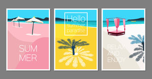 Vector set of summer cards. Holidays poster. Scene with palm tree, sea, sun umbrella, boat, island, beach chair. Royalty Free Stock Photos