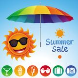 Vector set with summer design elements Stock Photos