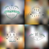Vector set of summer and happy  emblems and symbols on a blurred Stock Image