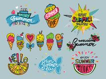 Vector set of summer labels. Hand drawn doodle illustrations. Royalty Free Stock Photography