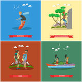 Vector set of summer outdoor activities concept posters, flat design Royalty Free Stock Image