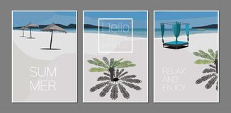 Vector set of summer paradise cards. Holidays poster. Scene with palm tree, sea, sun umbrella, boat, island, beach chair. Vector set of summer cards. Holidays Stock Photo