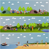Vector set of summer recreation concept banners in flat style stock illustration