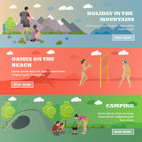 Vector set of summer recreation concept banners in flat style. Beach volleyball, forest camping, mountain hiking Stock Images