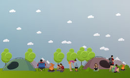 Vector set of summer recreation concept banners in flat style. People camping in park Stock Photo