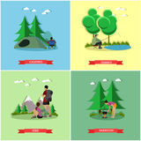 Vector set of summer recreation concept banners in flat style. People camping in park, fishing, hiking.  Stock Image