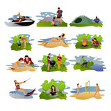 Vector set of summer recreation concept design elements. Royalty Free Stock Photo