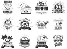 Vector set of summer season labels in vintage style. Design elements, icons, logo. Summer camp, beach holidays, tropical. Vector set of summer season labels in Royalty Free Stock Photography