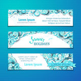 Vector set of summer sky horizontal banners. Royalty Free Stock Photos