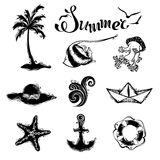Vector set of summer and travel icons. Royalty Free Stock Photos