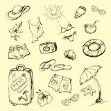 Vector set of summer travel and vacation emblems and symbols Royalty Free Stock Image