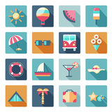 Vector set of summer, traveling icons with shadows. Flat modern style, can use it for web, phone. Traveling on air balloon, planning a summer vacation, tourism Stock Images