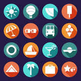 Vector set of summer, traveling icons with shadows. Flat modern style, can use it for web, phone. Traveling on air balloon, planning a summer vacation, tourism Royalty Free Stock Photos