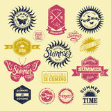 Vector Set of Summer typographic retro grunge labels and vintage badges. Royalty Free Stock Images