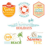 Vector set of summer and vacation labels and emblems. Stock Image