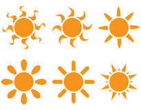 Vector set. The sun in different shapes Stock Photos
