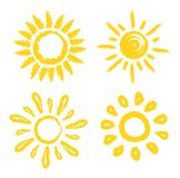 Vector set of sun. Four painted solar symbols. Stock Images